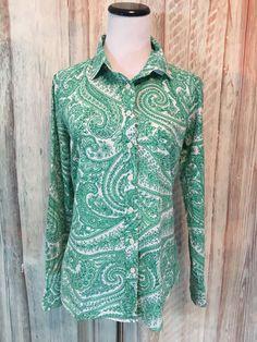 J Crew The Perfect Shirt Blouse Green Paisley Cotton Button LS sz XS EUC! #JCrew #ButtonFrontShirt