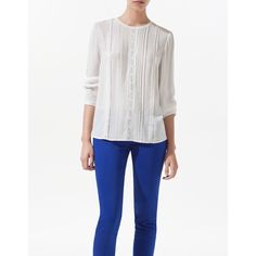 Zara Pin Tuck Blouse ($40) ❤ liked on Polyvore
