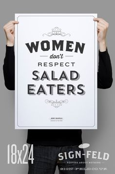 Women Don't Respect Salad Eaters Poster 11x17 by Signfeld on Etsy