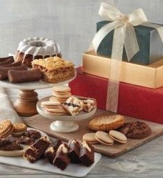 Holiday Bakery Gift Tower by Harry & David Food Baskets For Christmas, Christmas Food Gifts, Christmas Parties, Chocolate Cherry Cookies, Raspberry Cookies, Gourmet Gifts, Gourmet Recipes, Pumpkin Bundt Cake, Swirl Cake