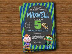 Check out this item in my Etsy shop https://www.etsy.com/listing/279530212/super-why-birthday-invitation-available
