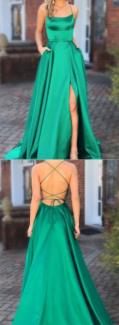 Green Prom Dresses with Pocket Long Backless Slit Formal Evening Ball Gowns, TYP. - Green Prom Dresses with Pocket Long Backless Slit Formal Evening Ball Gowns, Source by jasmin_timm - Prom Dresses With Pockets, Cheap Prom Dresses, Prom Party Dresses, Party Dresses For Women, Trendy Dresses, Green Prom Dresses, Classy Prom Dresses, Dresses Dresses, Inexpensive Prom Dresses