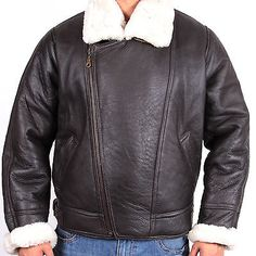 Bomber Flying Jacket Mens Aviator Ginger Brown Real Shearling Sheepskin Leather