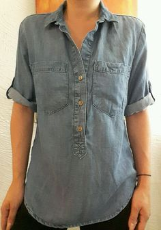 CLOTH & STONE ANTHROPOLOGIE SOFT JEANS HENLEY 3/4 SLEEVE BOHO TUNIC TOP BLOUSE S #CLOTHSTONE #ButtonDownShirt #Casual