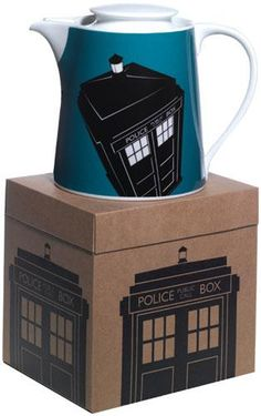 Doctor Who TARDIS Teapot ... artwork of the TARDIS (former 1960s British police call box) in black on blue and white sloping cylinder shape teapot, in gift box, porcelain, UK