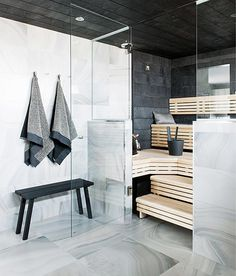 Modern House - Marble Tile - Sauna Design - Steam Room - Home Spa Scandinavian Bathroom, Scandinavian Modern, Bathroom Spa, Bathroom Interior, Bathroom Ideas, Modern Bathroom, Interior Exterior, Interior Architecture, Sauna Design