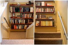 Instructions on how to build a wall mounted bookshelf with the help of pipe, Kee Klamp fittings and some custom shelves. Pipe Railing, Stair Handrail, Wall Mounted Bookshelves, Bookcase, Industrial Pipe Shelves, Pipe Shelving, Build A Wall, Pipe Furniture, Decorate Your Room