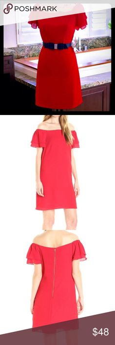 🎁🎄Party Ready Candy Apple Red Dress 🎄🎁 🍎Classy Candy Apple Red Dress is light and breezy. Can be dressed up with a belt and heels or worn casual on its own. Can be worn on or off the shoulder for different looks as well! Beautiful sleeves give a little extra pop. Waist is about 16 inches across. Open to reasonable offers! Listing is for dress only. Betsey Johnson Dresses