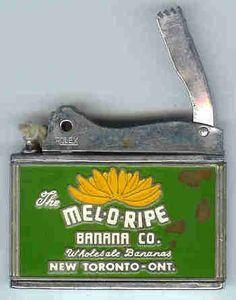 Vintage Mel-O-Ripe Banana Co. cigarette lighter