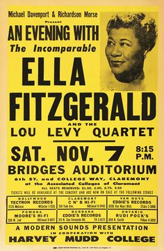 RR03 Vintage 1950's Ella Fitzgerald Rock & Roll Music Concert Advertising Advertisement Poster Re-Print Wall Decor A3/A4