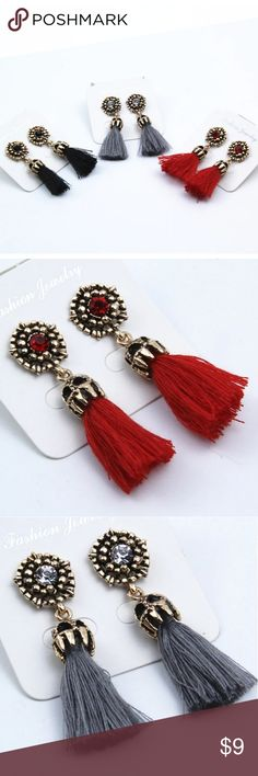 """TASSEL EARRINGS (3 Colors Available) APPROX 2"""" Long   Available in:  Red  Black  Gray  All with Gold Hardware   Vintage Look. Tassel, Dangle, Drop, Statement Making Fashion Earrings Shop CAB Jewelry Earrings"""