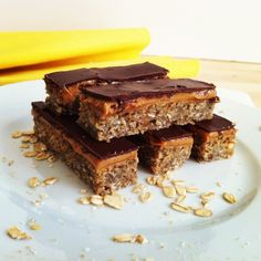 Healthy Banana Oatmeal Peanut Butter Dark Chocolate Bar with Chia Seeds- great for a snack, breakfast or healthy desert! (NOTE: Had to cook an extra 3 minutes). I'm going to switch a few things to make it vegan!!!