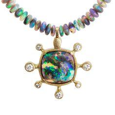 Alex Sepkus - awe-inspiring opal and diamond necklace