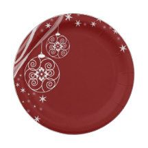 Red Christmas Ornament Paper Plate  sc 1 st  Pinterest & Romantic Vintage Red Damask Paper Plate | party supplies | Pinterest ...