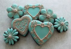 Teal Hearts & Flowers Cookies