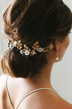 LIBERTE | organic floral headpiece, gold bridal