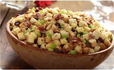 Apple Cranberry Stuffing with Bacon
