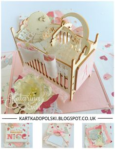 135 Exploding box for first Birthday #explodingbox #diy #crib #galeriapapieru #trimcraft #Firstedition #craftyenjoyments #kartkadopolski #katarzynaewa