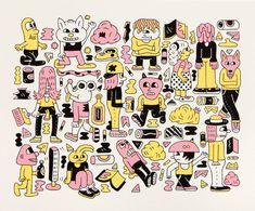 Dudes Screenprint - Andy Rementer