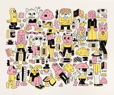 Dudes Screenprint - Andy Rementer