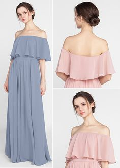 Bohemian Style Off Shoulder Full Length Bridesmaid Dresses