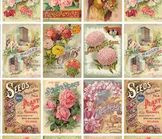 Antique Flower Seed Catalogues Collage fabric by jodielee on Spoonflower - custom fabric