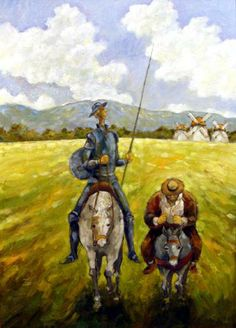 Un cuadro de El Quijote con su compañero Sancho
