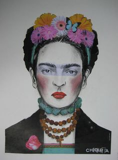 """Frida Kahlo fun  An Australian Emma Gale has worked as a graphic designer for about 13 years, currently living in the village of Bangalow in Northern NSW. She has exhibited in several shows and won the Border Art Prize. Animals, landscapes and animals are the primary subject in her artwork. Her work celebrates """"a love of colour and pattern and combining them together""""."""