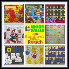 Word Walls in Elementary School: Sight Word Presentation on Bulletin Boards Round-up via RainbowsWithinReach