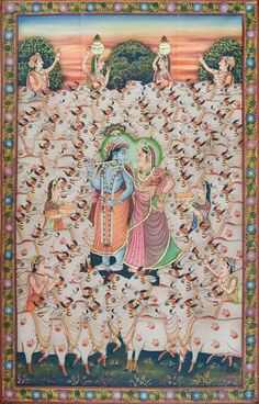 Radha Krishna With Cows - Pichwai Painting Krishna Painting, Madhubani Painting, Krishna Art, Shree Krishna, Krishna Lila, Radhe Krishna, Peacock Painting, Cow Painting, Silk Painting