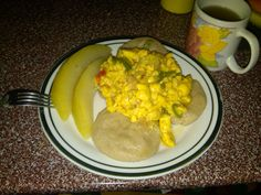 Cooked breadfruit, dumplin, ackee and Saltfish