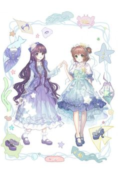 Cardcaptor Sakura Tomoyo Daidouji and Kinomoto Sakura Blue Sea Princess Lolita Dress