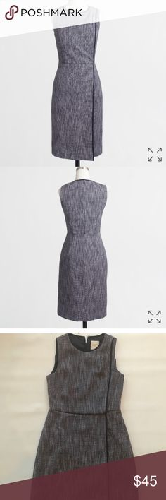 Jcrew factory tweed dress Jcrew tweed navy dress. Perfect for work or a shower.  Worn once. Looks brand new! J.Crew Factory Dresses