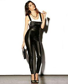 6a1dc29be Lederlady ❤ Leather Overalls, Black Overalls, Leggings And Heels, Black  Leggings, Leggings