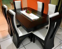 30 Comfort & Contemporary Brown Wood Tables With Chairs & Furniture - Decor Units Marble Dinning Table, Wooden Dining Table Designs, Dining Room Furniture Design, Dinning Table Design, 6 Seater Dining Table, Dining Room Table Decor, Farmhouse Dining Chairs, Wooden Dining Tables, Modern Dining Table