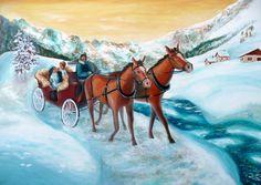 Painting «Val Fex» by Nadine Lière, Acrylic on canvas board, 70 x 50 cm, 2015, grenadine-art.eu