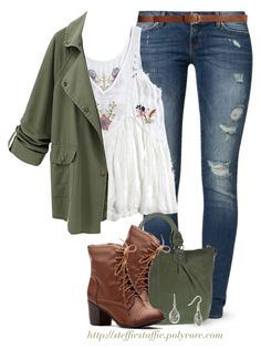 """""""Army Green jacket & Floral Embroidered top"""" by steffiestaffie ❤ liked on Polyvore featuring Noisy May, H&M and George Gina & Lucy"""