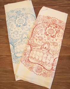 Set of 2  DAY Of The DEAD  MultiPurpose Flour Sack by ZenThreads, $13.00