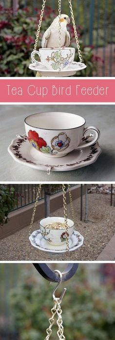 Super quick and easy way to transform your backyard or porch! Bird feeders come in all shapes and sizes, but this tea cup bird feeder is so cute and unique! Best part is that it's also easy to make. Grab the how to instructions for this simple DIY project here: http://www.ehow.com/how_5150815_make-tea-cup-bird-feeder.html?utm_source=pinterest.com&utm_medium=referral&utm_content=inline&utm_campaign=fanpage
