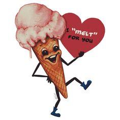 Valentine- Ice Cream Art Print by kellygilleran Valentine Images, Vintage Valentine Cards, Vintage Greeting Cards, Valentine Day Cards, Be My Valentine, Valentine Sayings, Valentines Day Memes, Cute Valentines Day Gifts, Valentine T Shirts
