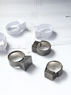 Christoph Straube - rings - oxidised fold silver http://www.preciouspages.de/pictures/works/r1.jpg