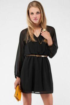 long sleeve black dress