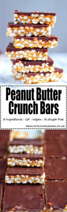Delicious and simple #peanutbutter Crunch Bars using just 5 ingredients! They are #gluten-free #vegan #plantbased #refinedsugarfree you just HAVE to give these a try! Click the photo to go directly to the recipe or pin for later!