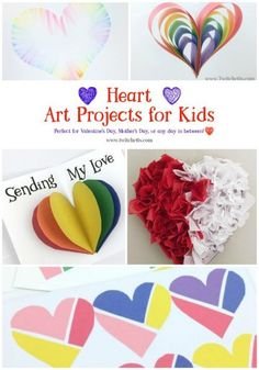 Get inspired to create with these heart art projects for all ages.  Perfect for Valentine\'s Day, Mother\'s Day or any day in between.  #heartart #heartartprojects #artprojectsforkids #artforkids #valentinesdayartforkids #heartcrafts #valentinesdaycrafts #mothersday #mothersdaycrafts #mothersdayart #craftsforkids #twitchetts