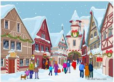 In winter peoples are shopping and walk on Christmas day. - free vector download
