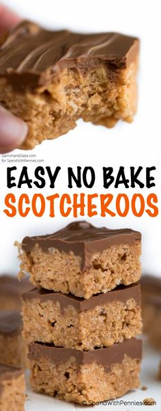 Scotcheroos are a quick and easy no bake dessert that needs just six ingredients and ten minutes to make! These are made with Special K cereal loaded with peanut butter and butterscotch flavor, and are a definite crowd pleaser. for a crowd, Desserts For A Crowd, Easy No Bake Desserts, No Bake Treats, Köstliche Desserts, Dessert Recipes, Quick Dessert, Dessert Healthy, Finger Desserts, Health Desserts
