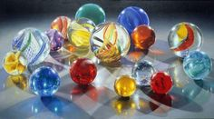 Charles Bell . 'sixteen candles' Photorealism, Hyperrealism, Bell Art, Still Life Artists, Sixteen Candles, Marble Art, Glass Marbles, Through The Looking Glass, Bottle Art
