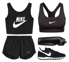 """NIKE"" by cigerett ❤ liked on Polyvore featuring NIKE, women's clothing, women's fashion, women, female, woman, misses, juniors, workout and exercise"