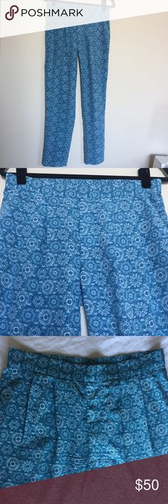Joie Blue Silk Pants Joie Blue Silk Pants. Perfect condition! They have pockets! Front has pleats and back has an elastic band. Length is 39in. Skinny style and slightly cropped at ankle. These are so cute and comfy! Joie Pants