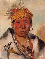 """""""Ah-yaw-ne-tak-oár-ron, a Warrior"""" by George Catlin """"I have visited forty-eight different tribes, the greater part of which I found speaking different languages, and containing in all 400,000 souls. I have brought home safe...310 portraits in oil, all painted in their native dress, and in their own wigwams...as well as a very extensive and curious collection of their costumes, and all their other manufactures, from the size of a wigwam down to the size of a quill or a rattle."""" George Catlin ..."""